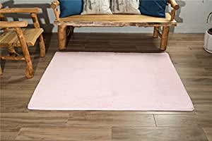 Xintianji 现代方形地毯,适合儿童卧室家庭客厅装饰地毯 粉红色 130 * 162CM