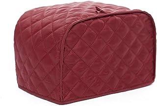 4 片烤面包机盖,厨房小家电盖,防指纹和油腻保护,可机洗涤纶烤面包机防尘罩 红色 12 x 11 x 8.5 inch
