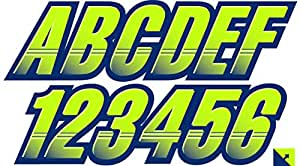 STIFFIE Techtron 原子绿/*蓝 7.62 厘米阿尔法数字注册标识号贴纸船舶和个人水事用贴纸:匹配海-Doo 2016+ Wake Pro 215、155、Pro 230 Manta