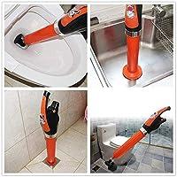 Jiemei 空气马桶柱塞,浴室柱塞,冲洗厕所,排水喷枪,浴室,淋浴,厨房堵塞管道浴缸 Electric Plunger Orange