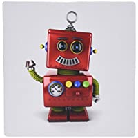 3dRose LLC 8 x 8 x 0.25 Inches Mouse Pad, Smiling Vintage Toy Robot, Waving Hello, Cute Funny (mp_158016_1)