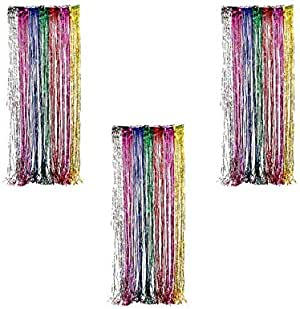 Ifavor123 装饰瓷箔金属流苏派对门窗帘 - 91.44 cm 宽 X 2.44 m 长 彩虹色
