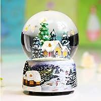 妙诺圣诞元旦新年情人节送老婆女朋友实用高档礼物!音乐盒水晶球天空之城圣诞雪屋漫天飘雪花炫彩发光水晶球音乐盒八音盒 生日情人圣诞节礼物摆件 雪人发光底座