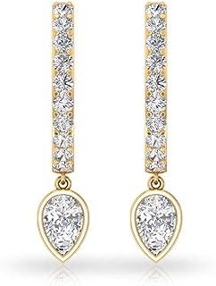 IGI认证钻石小环状耳环,IJ-SI颜色透明梨形钻石耳坠,可堆叠伴娘婚礼耳环,Huggie耳环,夹式