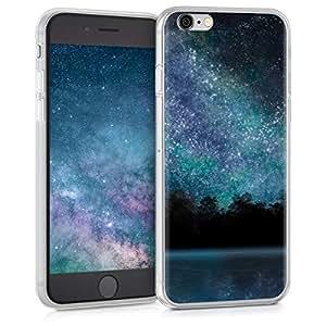 kwmobile TPU 硅胶手机壳适用于 Apple iPhone 6 / 6S - 水晶透明智能手机背壳保护壳 - 淡粉色白色透明38296.23_m000242 Cosmic Forest IMD blue black