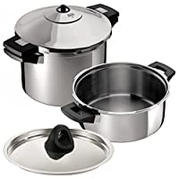Kuhn Rikon Duromatic Inox Stainless Steel Pressure Cooker with Side Grips, Set of 2, 2.5 Litre and 6 Litre / 24 cm