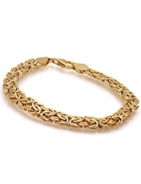 Stauer 14K 黄金 Aria Byzantine 手链,19.05 厘米