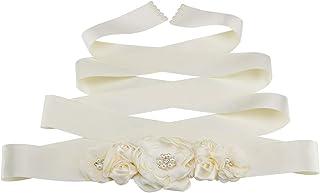 缎面腰带花朵女孩腰带带烧制层花婚礼伴娘腰带 JB23