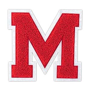 4 1/2 熨烫/热封/缝制雪尼尔大学队字母补丁 适用于 A-Z 红色/白色 M 13072065
