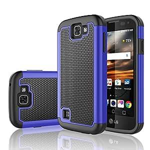 LG K3 手机壳,TekcooTM【Tmajor 系列】减震混合橡胶塑料冲击防护坚固纤薄手柄硬壳适用于 LG K3 Boost Mobile/Virgin Mobile LS4504326740231 蓝色/黑色