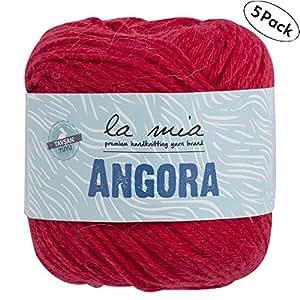 5 Ball La Mia Angora 羊毛,共 226.8 克。 每件 1.76 盎司 (50g) / 136 码 (125m),15% Angora,Light-Dk 优质纱线, Red - L004 5 件装 Lamia-Angora