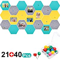 21 件插销板六边形毡板瓷砖公告板公告板通知板40件推销适用于家庭办公室教室墙壁装饰5.9 x 7 英寸/15 x 17.7 厘米 Grey, Yellow, Turquoise
