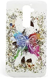 JUJEO Hard Cases for LG Optimus G2 D801 D803 Fluttering Butterfly White Background - Non-Retail Packaging - Multi Color