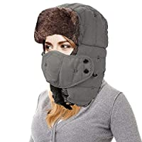 AMAKU 冬季Trapper 帽带面罩毛皮耳翻盖兵户外防风Ushanka 帽男女皆宜