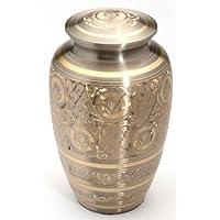 Urns UK 25.4cm 黄铜Cremation Urn 成人闪光灯,青灰色