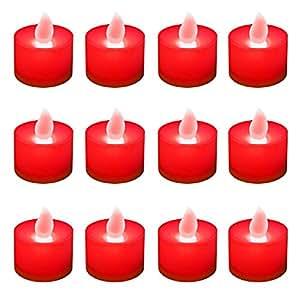 Lumabase 80312 12 支电池供电茶灯,红色