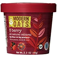 Modern Oats All Natural Oatmeal Cups 5 Berry 2.3 Ounce (Pack of 12) Gluten Free Non-GMO Whole Grain Vegan and Kosher Contains Tree Nuts 6g Fiber & 8g Protein Per Cup