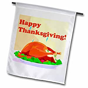 edmond hogge JR 感恩节–HAPPY thanksgiving 餐–旗帜 12 x 18 inch Garden Flag