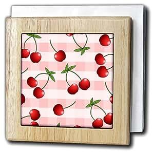 3dRose nh_24733_1 樱桃红樱桃粉色格子 - 瓷砖餐巾架,15.24cm