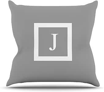 Kess InHouse Kess 原创交织字母纯灰色字母 J 户外抱枕 20 到 20 英寸 灰色 KIH045BJOP04