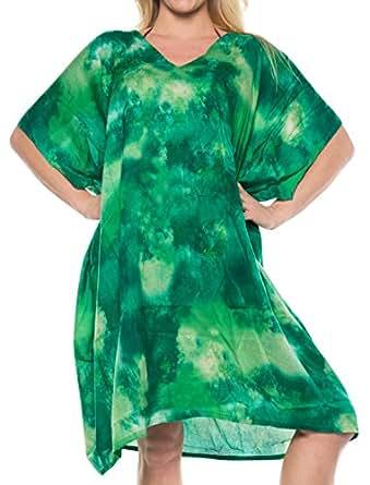 LA LEELA 人造丝印花比基尼泳装泳衣 OSFM 16-20 [XL-2X] 绿色_6518