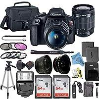 Canon 佳能 EOS Rebel T7 数码单反相机套装 带佳能 18-55mm 镜头 + 2 件 SanDisk 64GB 内存卡 + 配件套装CANON (ZT) Canon 18-55mm + 2X 64GB