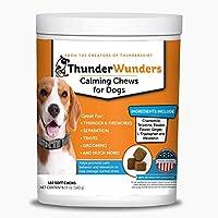 ThunderWunders 狗狗舒缓咀嚼器 | 甲酰胺、左旋桉、黑素和姜子 | 有助于缓解分离、风暴、烟火和旅行的压力 不适用 180 Count