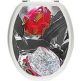 Pixxp/3D WCS 3704 32x40 Appetising Dragon 厕所盖贴纸,WC,马桶盖,Gläzendes 材质 黑色/白色,40 x 32 厘米