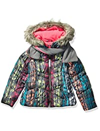London Fog 女童冬季外套,带帽子和围巾
