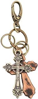 Jude Jewelers 复古皮革青铜基督教圣十字架宗教吊坠钥匙链