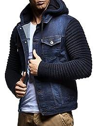 Leif Nelson LN5240 男式针织袖牛仔夹克