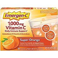 Alacer Emergen-C(30包,橙味,1个月分量)膳食补充剂 饮料混合1000毫克维生素C,0.32盎司(9.1g)每包,不含咖啡因