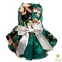可爱宠物狗连衣裙宠物花朵丝滑衣服圣诞情人节复活节派对礼服带蕾丝丝带 * Back Length 12''