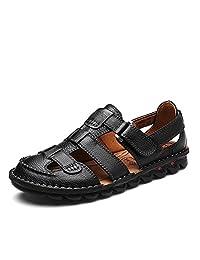 FeO DvKe 铁公爵 男士休闲凉鞋 优质头层牛皮 真皮包头凉鞋男 手工凉鞋 防滑耐磨 1322VTT70V