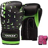 RDX 儿童拳击手套 Maya 隐藏皮革 113.4 克 少年拳击袋 MMA 训练 泰拳手套 6oz 绿色