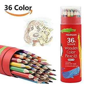 彩色铅笔*亮色水彩铅笔,24 支装,易上色,结实不易破损,适合素描、艺术、彩色书籍,带圆筒包装 36 种颜色