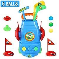 Mochoog 幼儿高尔夫套装,儿童高尔夫玩具,带 3 个高尔夫球杆,6 个球和 2 个练习孔 - 室内/室外青年高尔夫运动玩具,送给 3 4 5 6 - 8 岁男孩和女孩