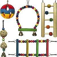 鹦鹉玩具套装 - 悬挂鹦鹉秋千 - 木制和金属鹦鹉秋千 - 中号小鹦鹉摇摆玩具 - 鸟笼咀嚼玩具套装 - 鹦鹉梯子 - 木制鹦鹉玩具套装 - 鸟铃玩具