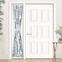 DriftAway Samantha 保暖/房间变暗索环无衬里窗帘,花卉/锦缎徽章图案,两件套,每件 132.08 厘米 x 213.36 厘米 蓝色 25