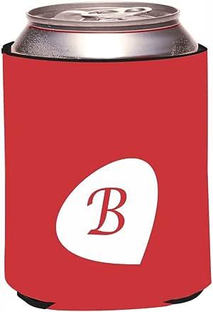 "Rikki Knight RKws-KOOZIE-43866 ""Letter B Cranberry Red Monogram Initial Petal Leaves Fall Winter Design"" Beer Can/Soda Drink Cooler Koozie"