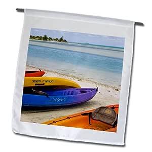 3dRose fl_85155_1 法属波利尼西亚库克群岛阿特塔基皮艇 Oc14 Bja0002 Jaynes 画廊花园旗帜,30.48 x 45.72 厘米