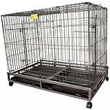 CHUKCHI大型犬宠物方管笼高可折叠大狗笼子 含轮子托盘 (黑灰,XL-大型110cm)