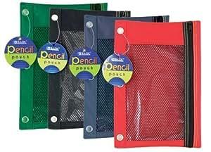 带网窗的 Bazic 3 环铅笔袋 4件装