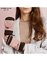 COMME LA VIE 乐为 女士 手套 半指 秋冬天 户外 保暖 加厚 加绒 羊毛 可爱 14FD171