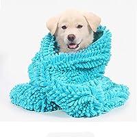 "Delifur 狗狗毛巾超吸水速干宠物毛巾带手袋超细纤维超大毛巾,适合中小型狗猫 蓝色 S(23.6""x13.8"")"
