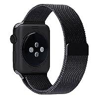 WOOZU 沃卒Apple Watch 3表带 表壳表带2合1 轻盈金属质地 磁性搭扣 iWatch Series 2表带简约典雅米兰38mm表带 Apple Watch Series 2表带 (38mm, 黑)