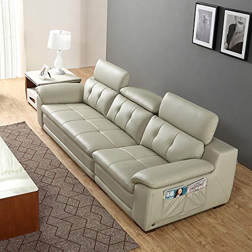 下单赠价值998元真皮圆凳1个ZUOYOU 左右 头层牛皮 小户型沙发 真皮一字型沙发 DZY2852 四人位 青灰色