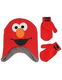 Sesame Street 男孩 Elmo 角色帽子和手套寒冷天气套装