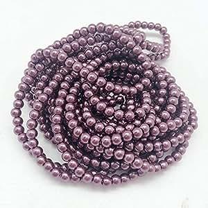 PEPPERLONELY 品牌 5 股(约 700 粒 220 克)玻璃珠圆珠,6 毫米(1/4 英寸) 4#. Grayish Purple