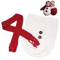 新生儿摄影道具圣诞睡袋婴儿照片拍摄服装钩针编织服装婴儿针织圣诞服装
